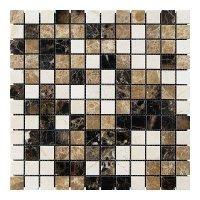 Мозаичная плитка мрамор Emperador Dark - Emperador Light - Crema Marfil (23х23x6 мм) Полированная
