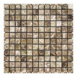 Мозаичная плитка мрамор Emperador Dark TR (23х23x6 мм) Стареная/Невалтованная