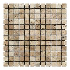 Мозаичная плитка Travertine Classic (23х23x6 мм) Стареная/Валтованная