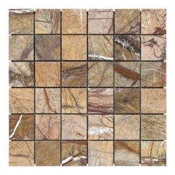 Мозаичная плитка мрамор Bidasar Brown (47х47x6 мм) Полированная