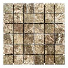 Мозаичная плитка мрамор Emperador Dark TR (47х47x6 мм) Стареная/Невалтованная