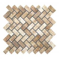 Мозаїчна плитка Travertine Classic (47x23x6 мм) Полірована / Прямокутна
