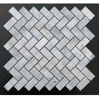 Мозаичная плитка мрамор White Mix BI (47х23x6 мм) Полированная