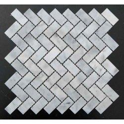 Мозаїчна плитка мармур White Mix BI (47x23x6 мм) Полірована