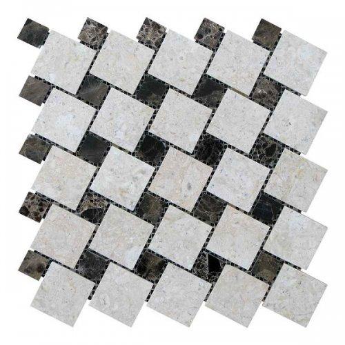 Мозаичная плитка мрамор Victoria Beige/мрамор Emperador Dark (47х47 мм/23х23x6 мм) Полированная