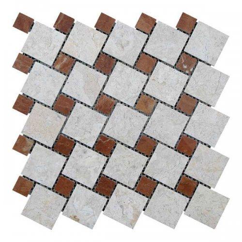 Мозаичная плитка мрамор Victoria Beige/мрамор Rojo Alicante (47х47 мм/23х23x6 мм) Полированная