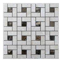 Мозаичная плитка мрамор Victoria Beige/мрамор Emperador Dark (23х23 мм/47х23x6 мм) Полированная