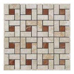 Мозаичная плитка мрамор Victoria Beige/мрамор Rojo Alicante (23х23 мм/47х23x6 мм) Полированная